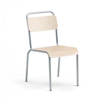 Jídelní židle Frisco, hliníkově šedý rám, HPL bříza