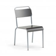 Jídelní židle Frisco, hliníkově šedý rám, HPL černá