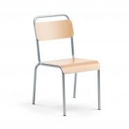Jídelní židle Frisco, hliníkově šedý rám, HPL buk