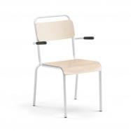 Jídelní židle Frisco, s područkami, bílý rám, HPL bříza
