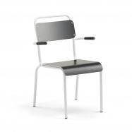Jídelní židle Frisco, s područkami, bílý rám, HPL černá