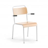 Jídelní židle Frisco, s područkami, bílý rám, HPL buk