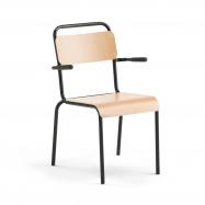 Jídelní židle Frisco, s područkami, černý rám, HPL buk