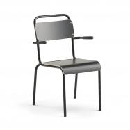 Jídelní židle Frisco, s područkami, černý rám, HPL černá