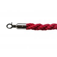 Lano k zábranovým sloupkům - červené, kroucené, stříbrná karabina, délka 150cm