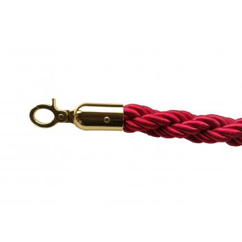 Lano k zábranovým sloupkům - červené, kroucené, zlatá karabina, délka 150cm