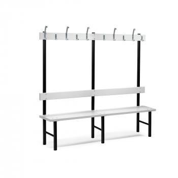 Šatní lavička s věšákem, 12 háčků, 2000 mm, šedá