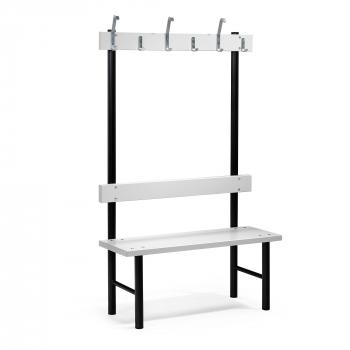 Šatní lavička s věšákem, 6 háčků, 1000 mm, šedá