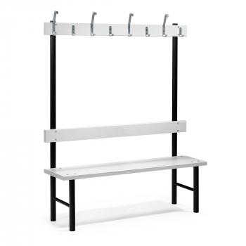 Šatní lavička s věšákem, 8 háčků, 1500 mm, šedá