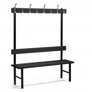 Šatní lavička s věšákem, 8 háčků, 1500 mm, černá