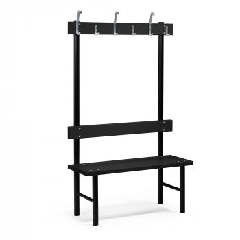 Šatní lavička s věšákem, 6 háčků, 1000 mm, černá
