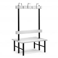 Šatní lavička s věšákem, oboustranná, 12 háčků, 1000 mm, šedá