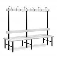 Šatní lavička s věšákem, oboustranná, 24 háčků, 2000 mm, šedá