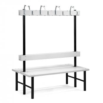 Šatní lavička s věšákem, oboustranná, 16 háčků, 1500 mm, šedá