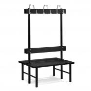 Šatní lavička s věšákem, oboustranná, 12 háčků, 1000 mm, černá