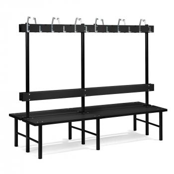 Šatní lavička s věšákem, oboustranná, 24 háčků, 2000 mm, černá