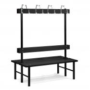 Šatní lavička s věšákem, oboustranná, 16 háčků, 1500 mm, černá