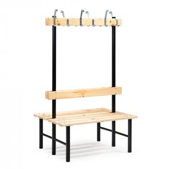 Šatní lavička s věšákem, oboustranná, 12 háčků, 1000 mm, borovice