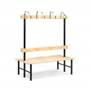 Šatní lavička s věšákem, oboustranná, 16 háčků, 1500 mm, borovice