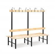 Šatní lavička s věšákem, oboustranná, 24 háčků, 2000 mm, borovice