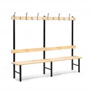Šatní lavička s věšákem, 12 háčků, 2000 mm, borovice