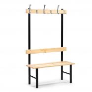 Šatní lavička s věšákem, 6 háčků, 1000 mm, borovice