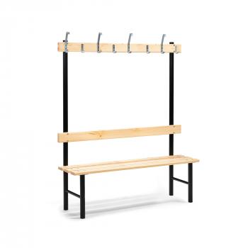 Šatní lavička s věšákem, 8 háčků, 1500 mm, borovice