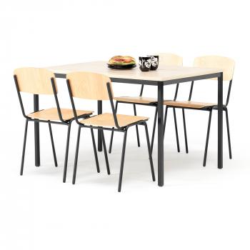 Jídelní sestava: stůl 1200x800 mm, bříza + 4 židle, bříza/černá