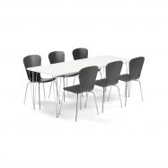 Jídelní set Zadie + Milla, 1 stůl a 6 černých židlí
