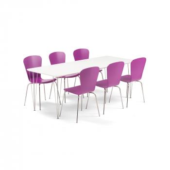 Jídelní set Zadie + Milla, 1 stůl a 6 fialových židlí