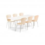 Jídelní set Zadie + Milla, 1 stůl a 6 židlí v barvě bříza