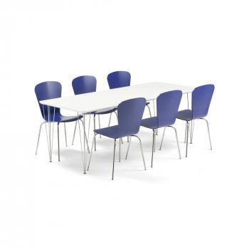 Jídelní set Zadie + Milla, 1 stůl a 6 modrých židlí