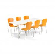 Jídelní set Zadie + Milla, 1 stůl a 6 oranžových židlí