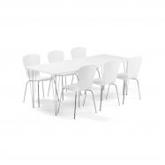 Jídelní set Zadie + Milla, 1 stůl a 6 bílých židlí