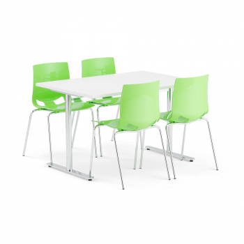 Jídelní set Tilo + Juno, 1 stůl a 4 zelené židle