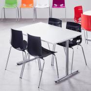 Jídelní set Tilo + Juno, 1 stůl a 4 antracitové židle