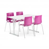 Jídelní set Tilo + Juno, 1 stůl a 4 fialové židle