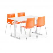 Jídelní set Tilo + Juno, 1 stůl a 4 oranžové židle
