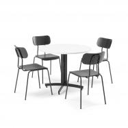 Jídelní sestava: 1x stůl Ø 900 mm, bílý + 4x židle, černá