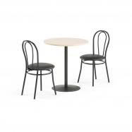 Jídelní set Astrid + Aurora, 1 stůl a 2 černé židle