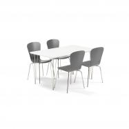 Jídelní set Zadie + Milla, 1 stůl a 4 antracitové židle