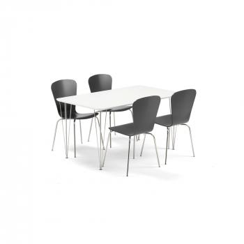 Jídelní set Zadie + Milla, 1 stůl a 4 černé židle