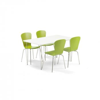 Jídelní set Zadie + Milla, 1 stůl a 4 zelené židle