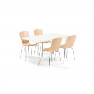 Jídelní set Zadie + Milla, 1 stůl a 4 židle v barvě buk