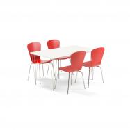 Jídelní set Zadie + Milla, 1 stůl a 4 červené židle