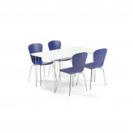 Jídelní set Zadie + Milla, 1 stůl a 4 modré židle