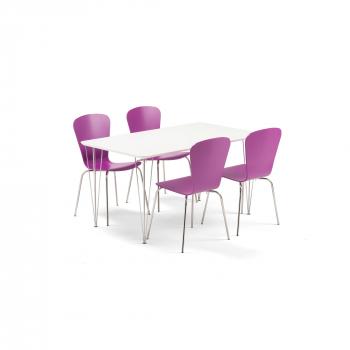 Jídelní set Zadie + Milla, 1 stůl a 4 fialové židle