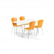 Jídelní set Zadie + Milla, 1 stůl a 4 oranžové židle