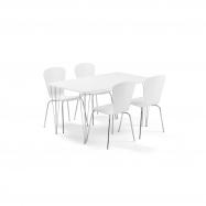 Jídelní set Zadie + Milla, 1 stůl a 4 bílé židle