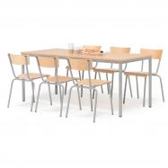 Jídelní sestava: stůl 1800x800 mm + 6 židlí, buk/hliníkově šedá